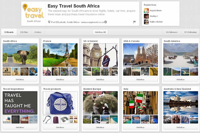 Join Easy Travel South Africa on Pinterest